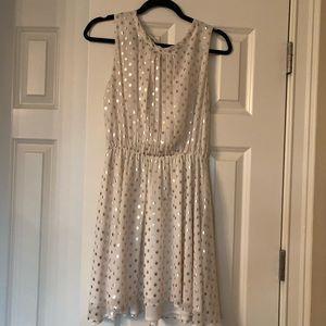 Maison Jules- White & Gold Dotted Mini Dress